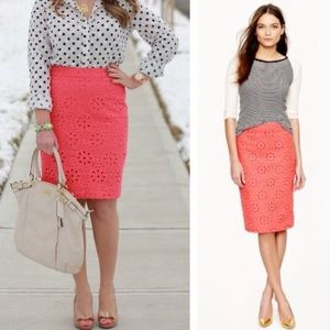 j. crew // pinwheel eyelet lace pencil skirt coral